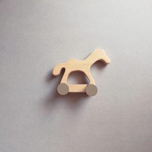 wooden kid retro toy poney
