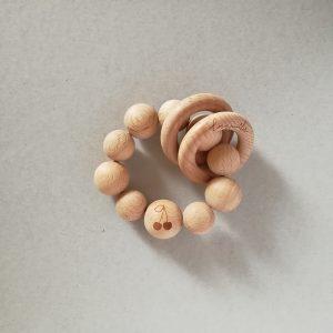 cherry teether rattle wood
