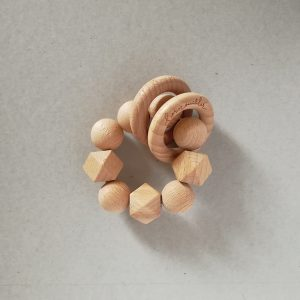 simply teether rattle wood